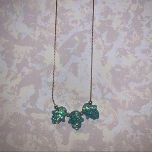 Triple Hamsa opal necklace